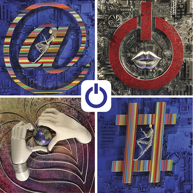 Clockwise lower left:  SYMBIOSIS, @ ME MYSELF AND MOI, SEDUCER, # MY UNIVERSE - Osvaldo Napoli for E-POQUE