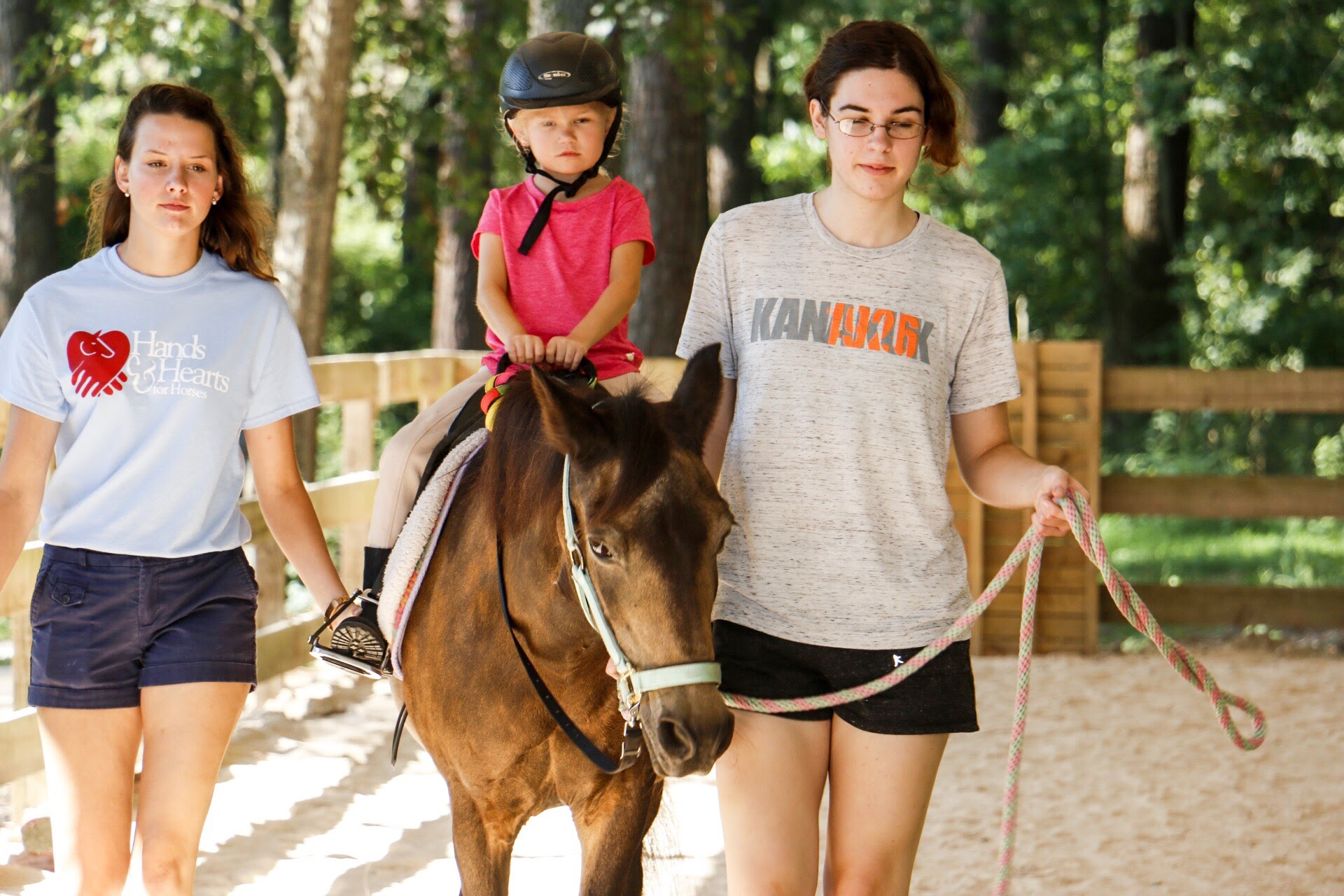 LESSON PROGRAMS - Volunteers assist by leading horses or walking beside riders (sidewalking) during classes. No horse experience is required! Lesson program volunteers should be willing to commit to coming the same day and time each week.