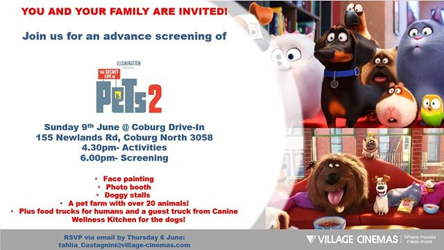What a better way to spend a Sunday than to join us for fun activities and the advanced screening of Pets 2! We will be flipping burgers and serving only the best to keep the whole family happy! 🍔 🍔 🍔