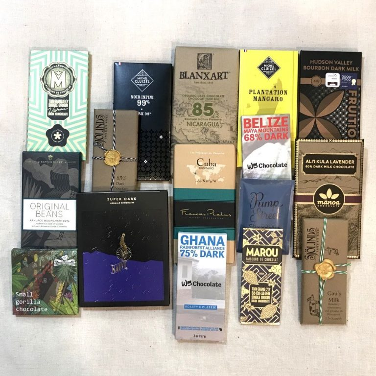 Assortment of single origin chocolate bars from our curated collection.
