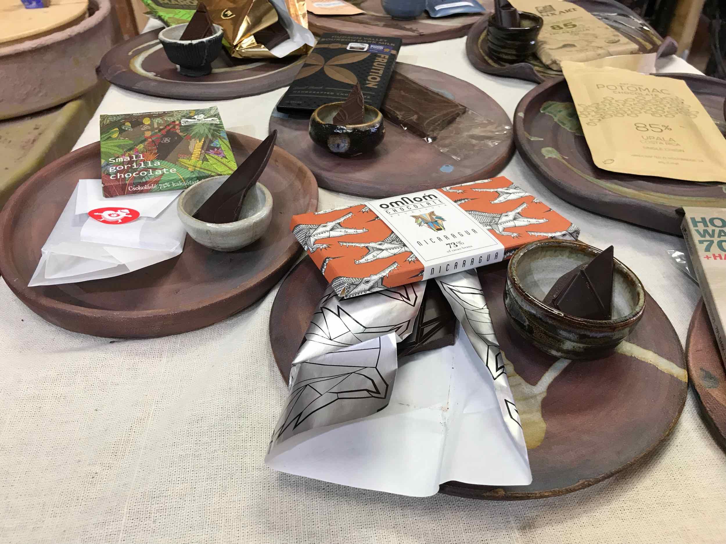 Free chocolate sampling at Yahara Chocolate