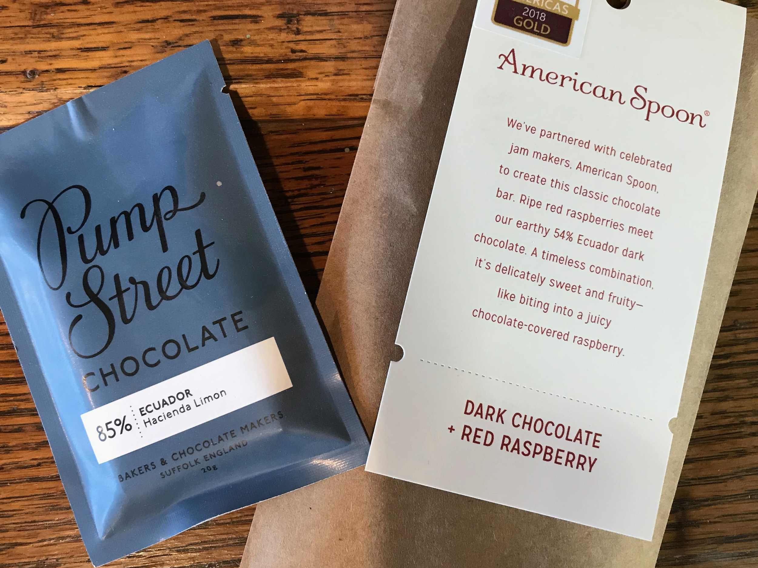 Pump Street from Ecuador and Dark Chocolate Red Raspberry from American Spoon.