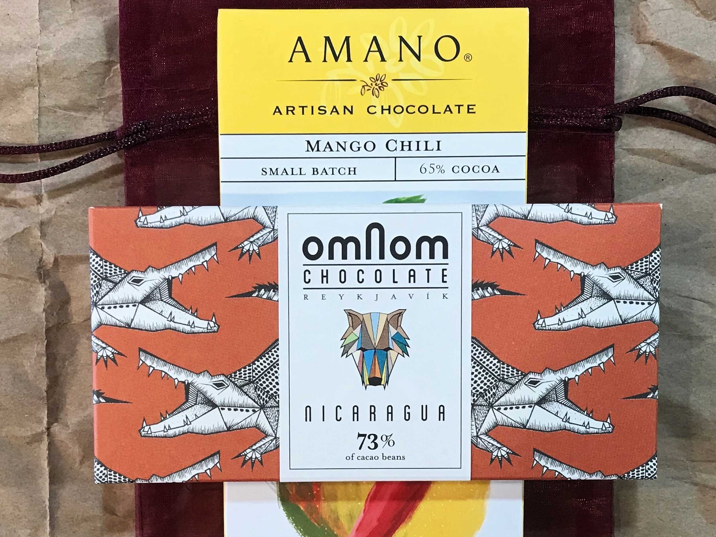 Amano Mango Chili Artisan Chocolate and Omnon Chocolate from Nicaragua