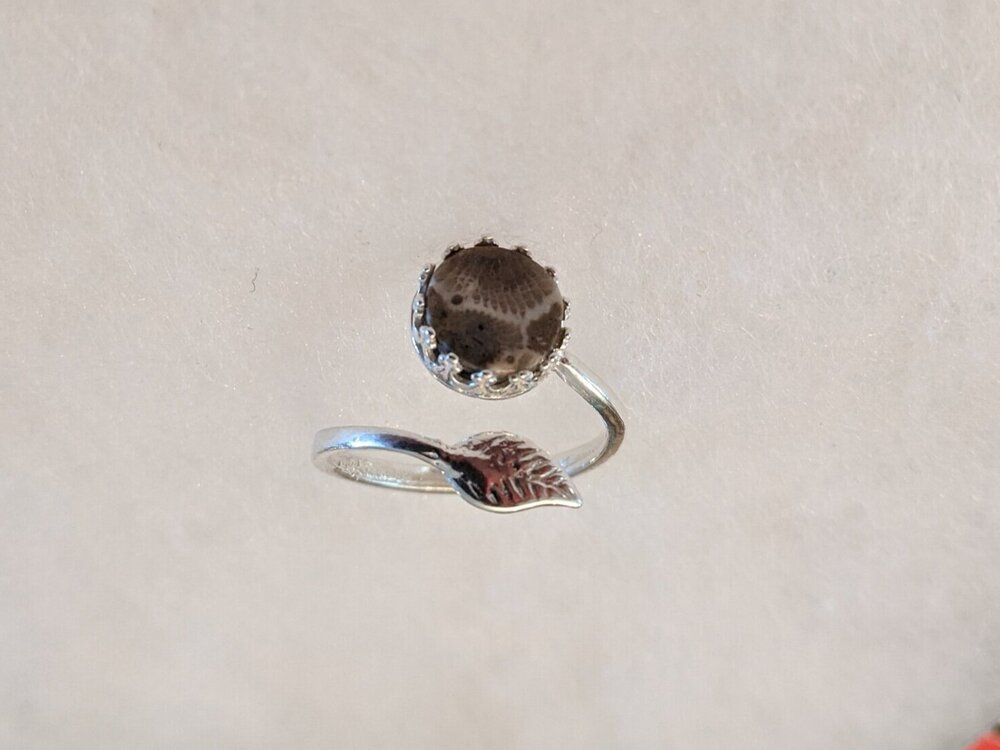 Sterling Silver Petoskey Stone Size 10 Ring*