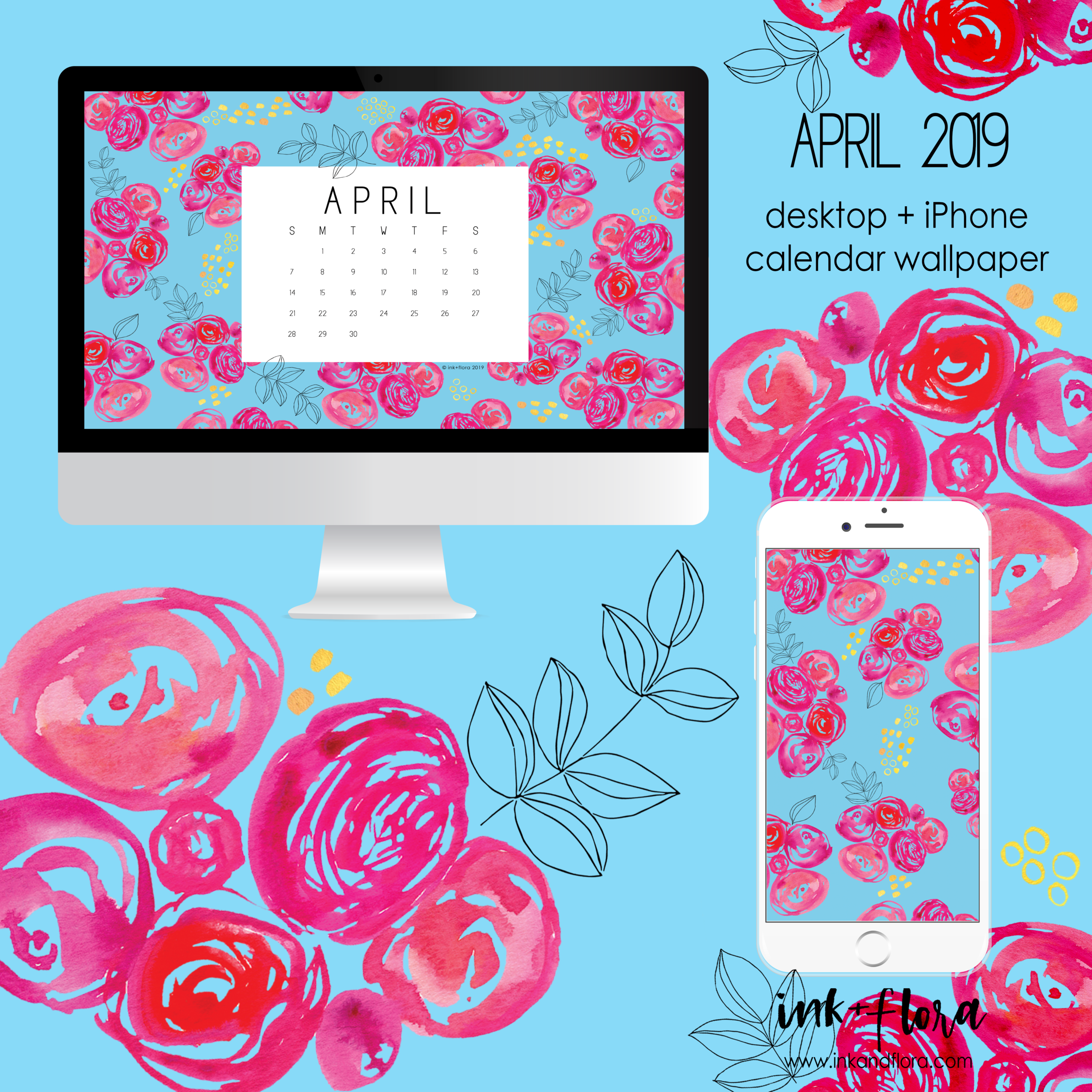spring desktop calendar wallpaper