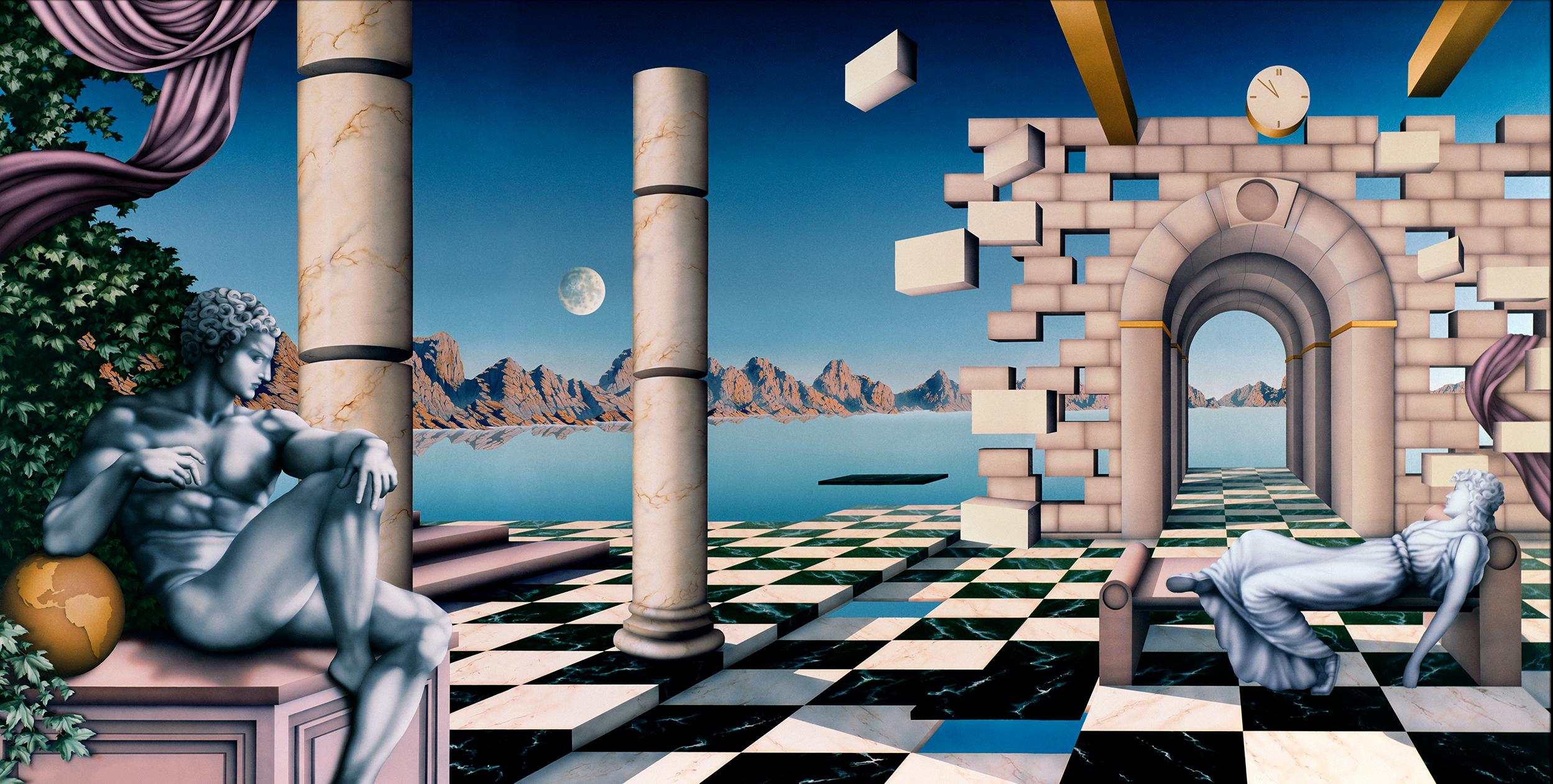 Andiamo, 1988:  Acrylic and varnish on board,  72 x 144 in (183 x 366 cm)