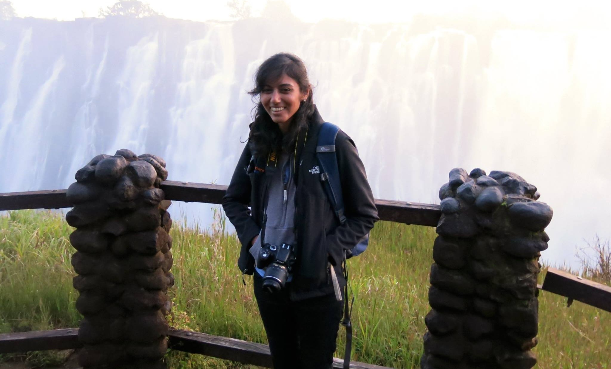 Mauna in front of Victoria Falls, Zambia