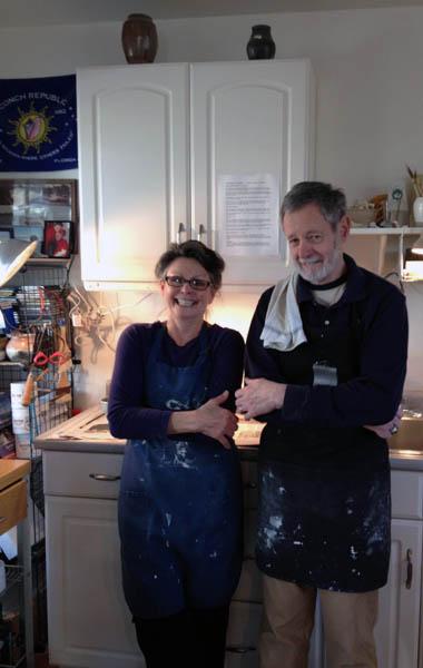 Russel and Annie Jones in their ceramic studio.