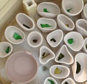 Ceramics in the kiln.