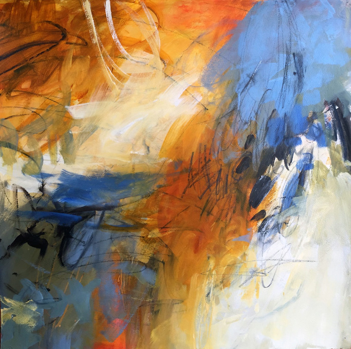 Call and Response is an acrylic on paper by Karen Stastny, a New Orleans and Asheville Painter.