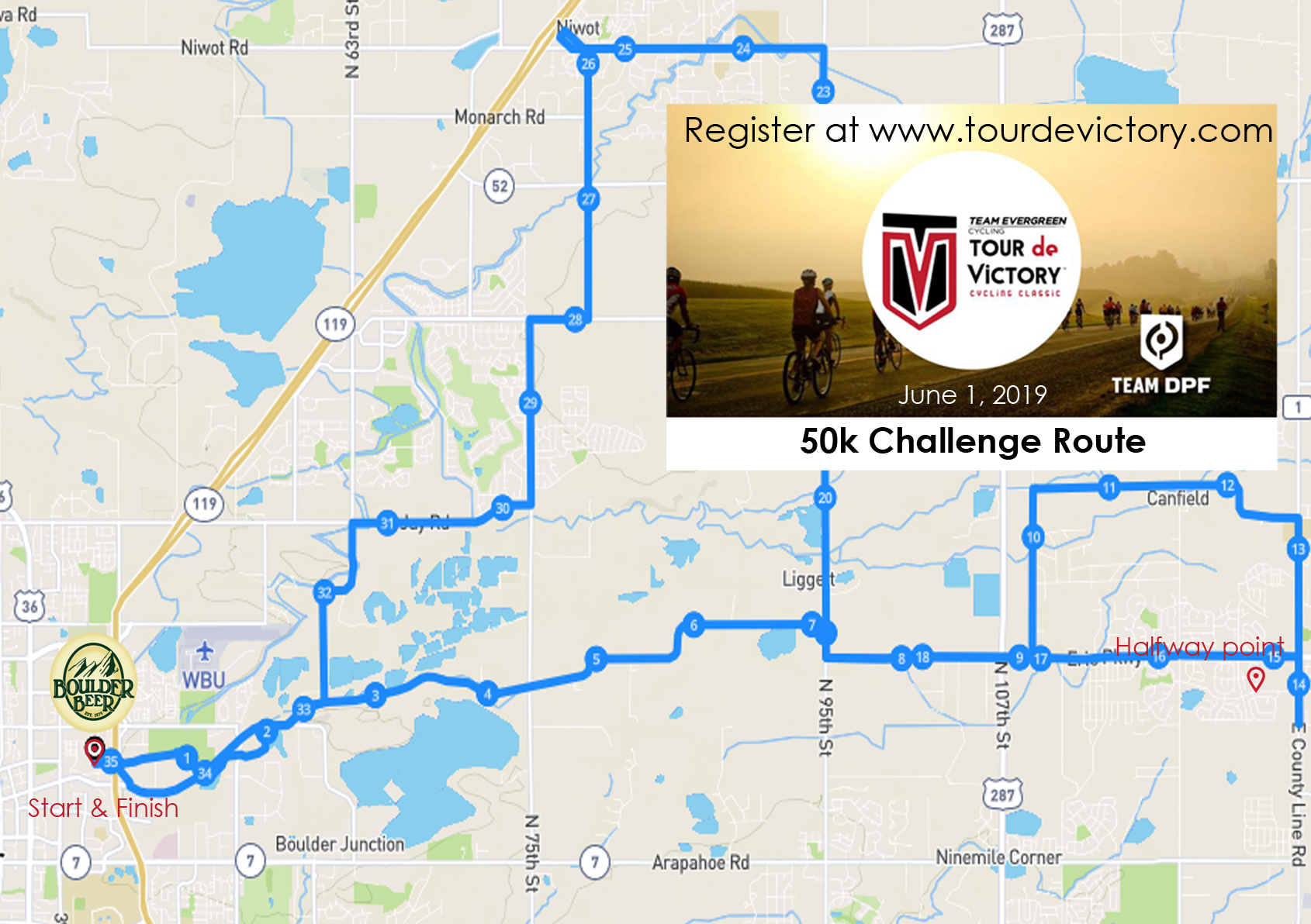 About the Route - 50k Challenge RideThe perfect riding distance. Quite possibly a natural, innate activity for humans — get on a bike, pedal away at 60 RPM and in a couple of hours, you've gone 50K. I know, right! Create a team of family, friends, and/or coworkers and be a huge part of helping that someone you know with Parkinson's.