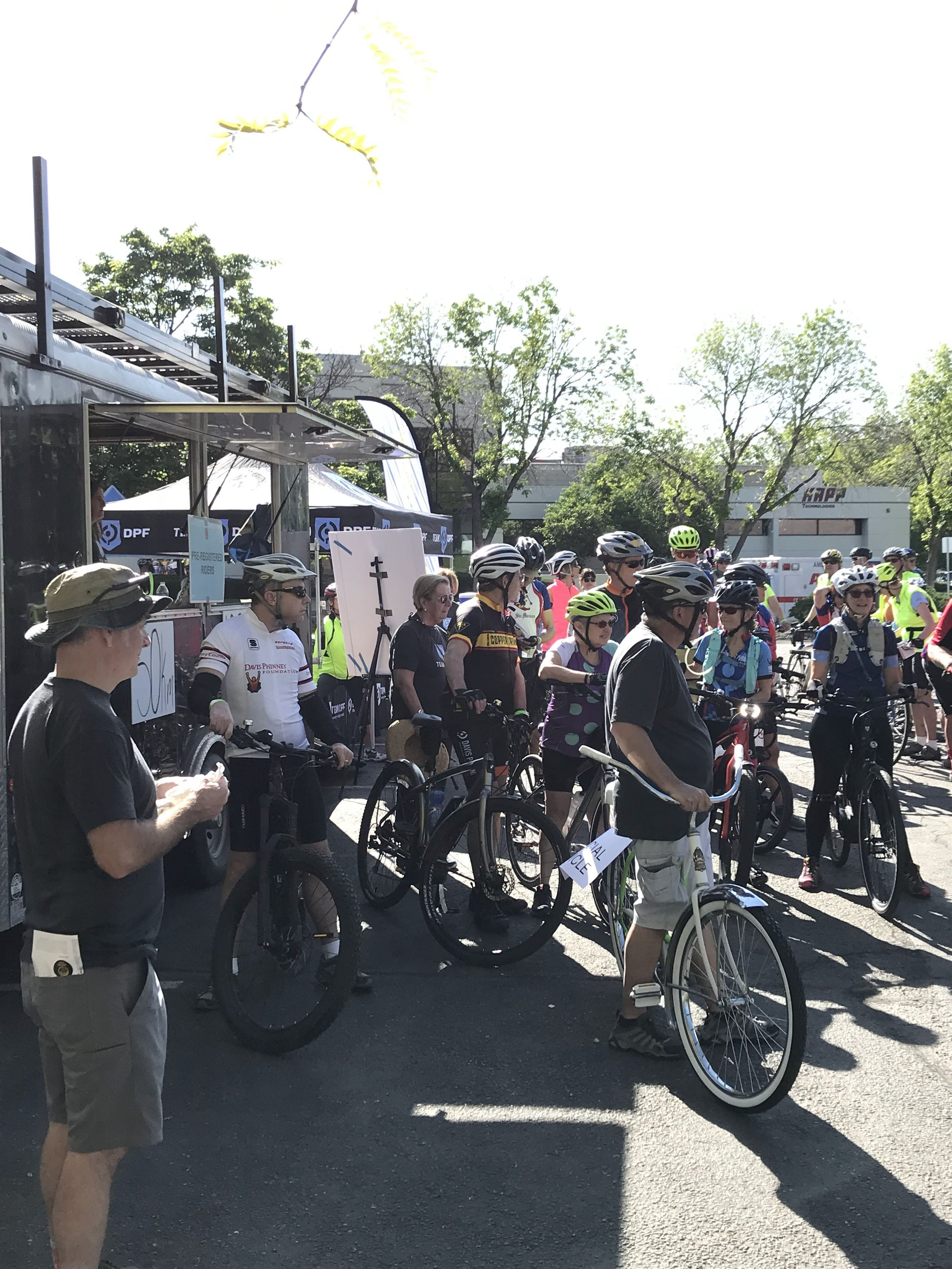 Riders receive instructions at the start