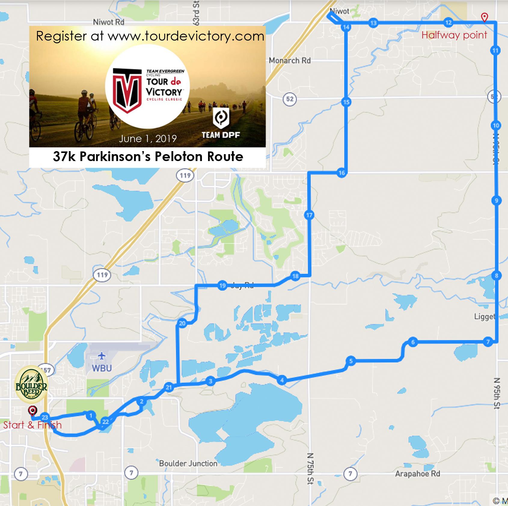 Parkinson's Peloton Route