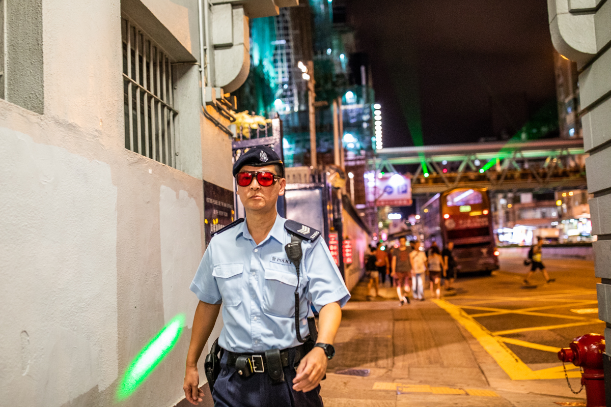 New fashionable eyewear for the boys in blue to guard against eyeballs being burnt out of eye-sockets. They also go well with with black and green fatigues worn when suppressing demonstrations.