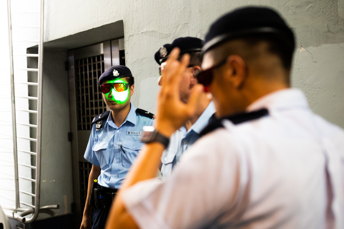 A picture demonstrating the effectiveness of the police's new eyewear accessories.