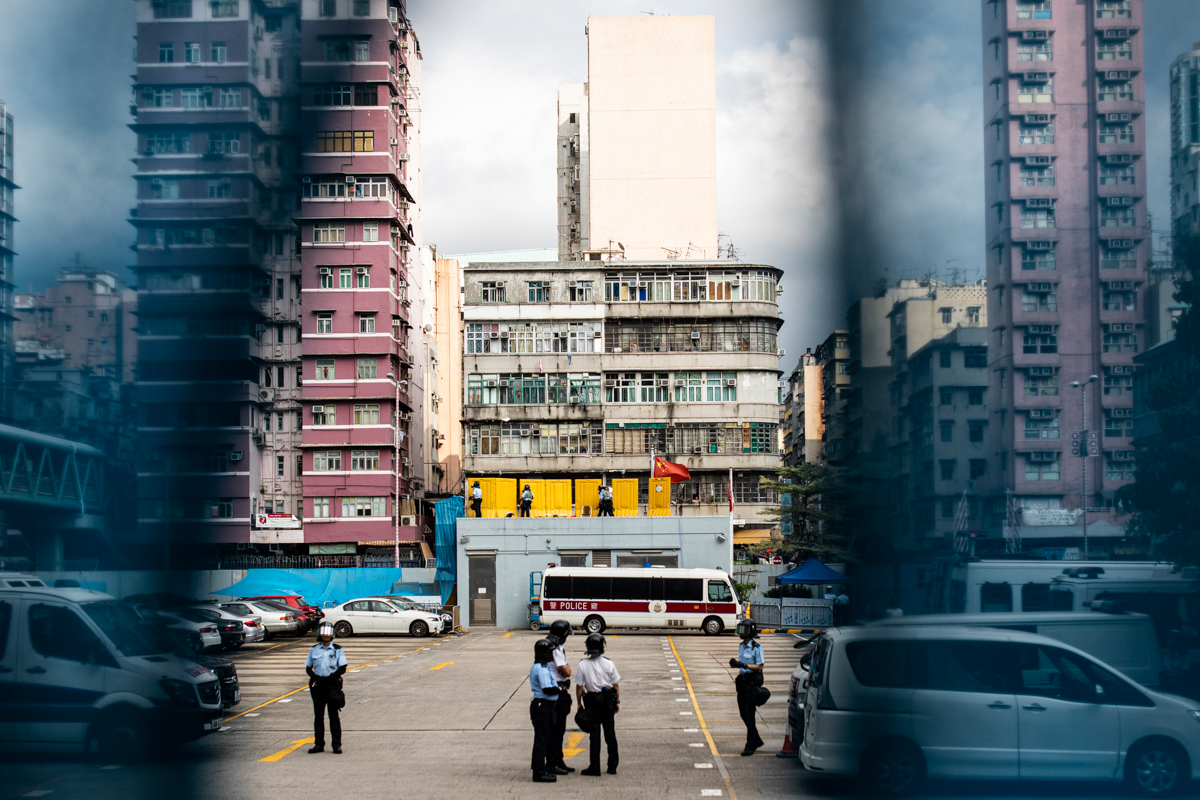 View into Sham Shui Po station prior to clearance operations. Protestors surrounded the building on four sides.