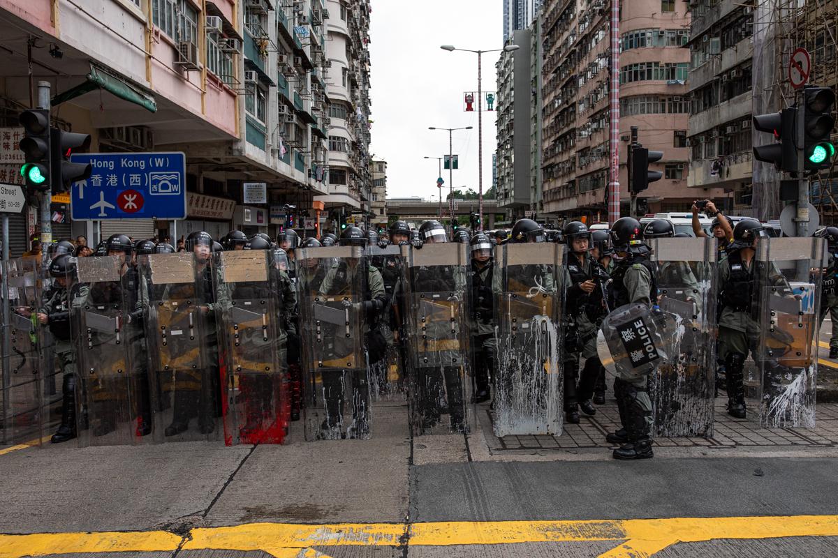 Riot police in Sham Shui Po