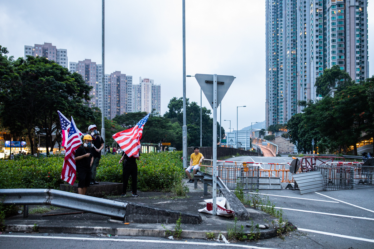Tai Wai before a clearance operation is launched to re-open roads blocked by protestors.