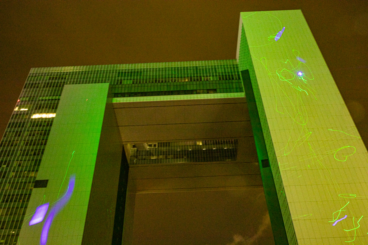 19.08.18 - Hong Kong government HQ during the technicolor laser light show.