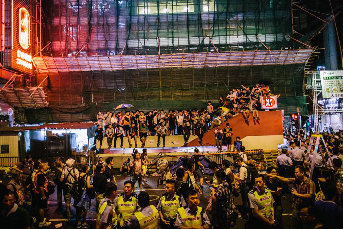 14.10.04 - Hong Kong: Protestors occupy Mong Kok.