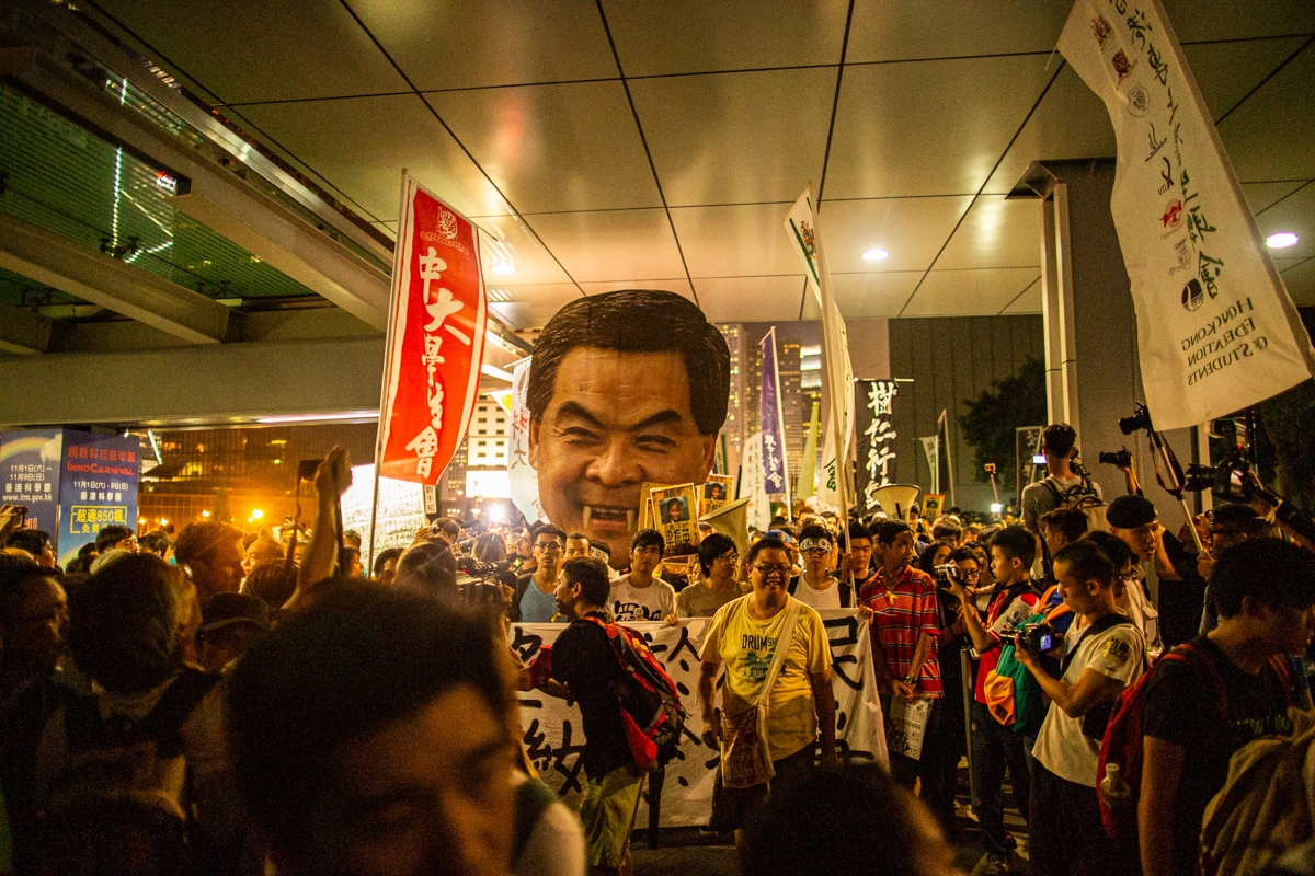 14.09.25 - An effigy of CY Leung, Hong Kong's leader, is mocked during a protest over the government's proposed plan for implementing democracy in Hong Kong. The plan would require that Hong Kongers voted for a selection of candidates vetted by Beijing.