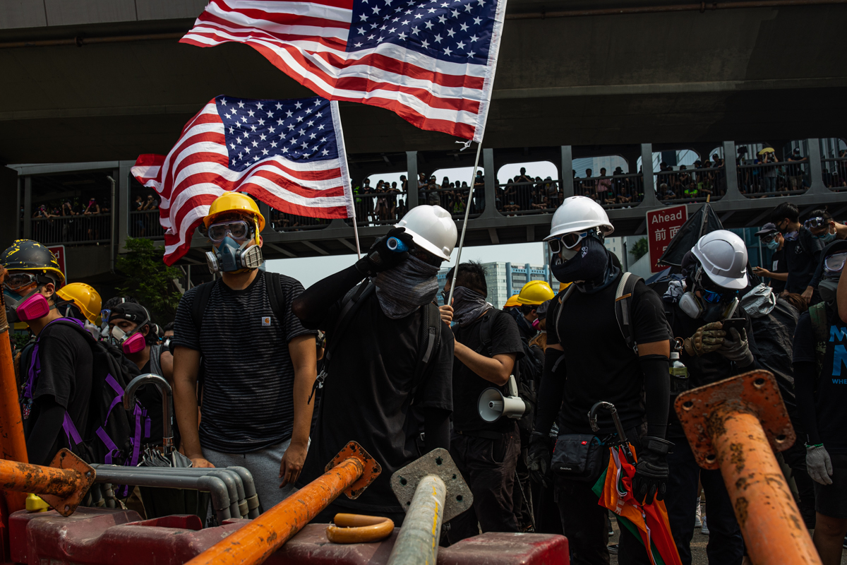 19.08.24 - Protestors waiving old glory, a controversial statement amongst the protestors.