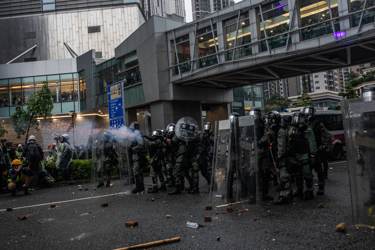 19.08.25 - Police fire tear gas. I always miss the ubiquitous canon blast shot that now accompanies every media story about the protests.