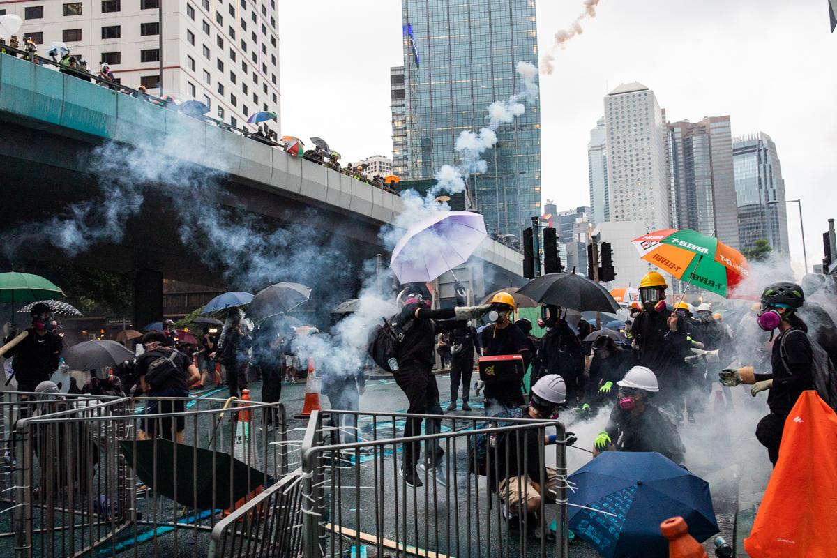 Protestors out side LegCo levitating.