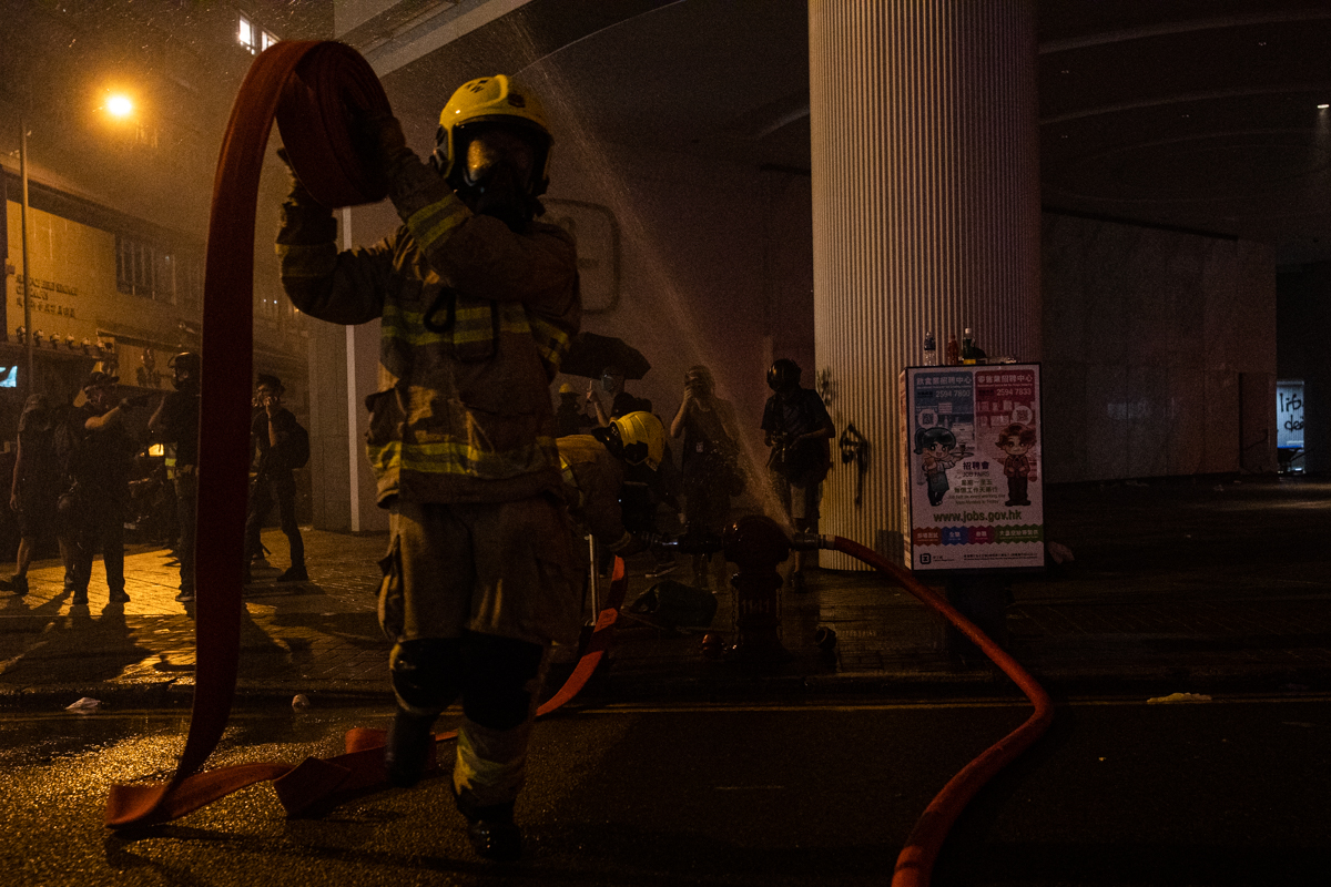 Heroic fireman image.