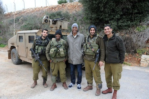 With Israeli soldiers at the Syria-Lebanon border.