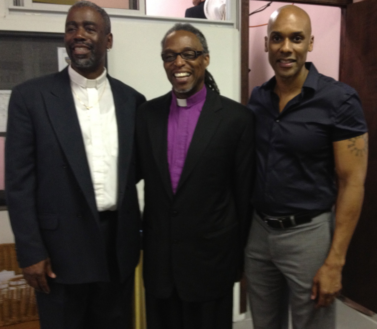 With Bishop Zachary Jones (center) at Unity Fellowship Church in Brooklyn.