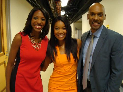 """With Gabrielle Union and Keli Goff on the set of """"Being Mary Jane."""""""