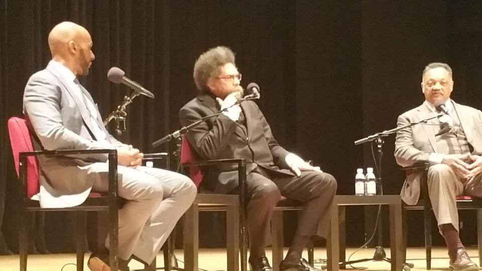 Keith Boykin moderating a discussion with Cornel West and Jesse Jackson at Columbia University in 2016.