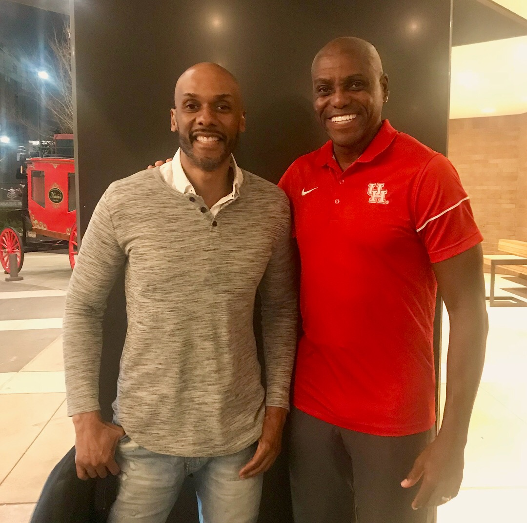 With Carl Lewis at the University of Houston