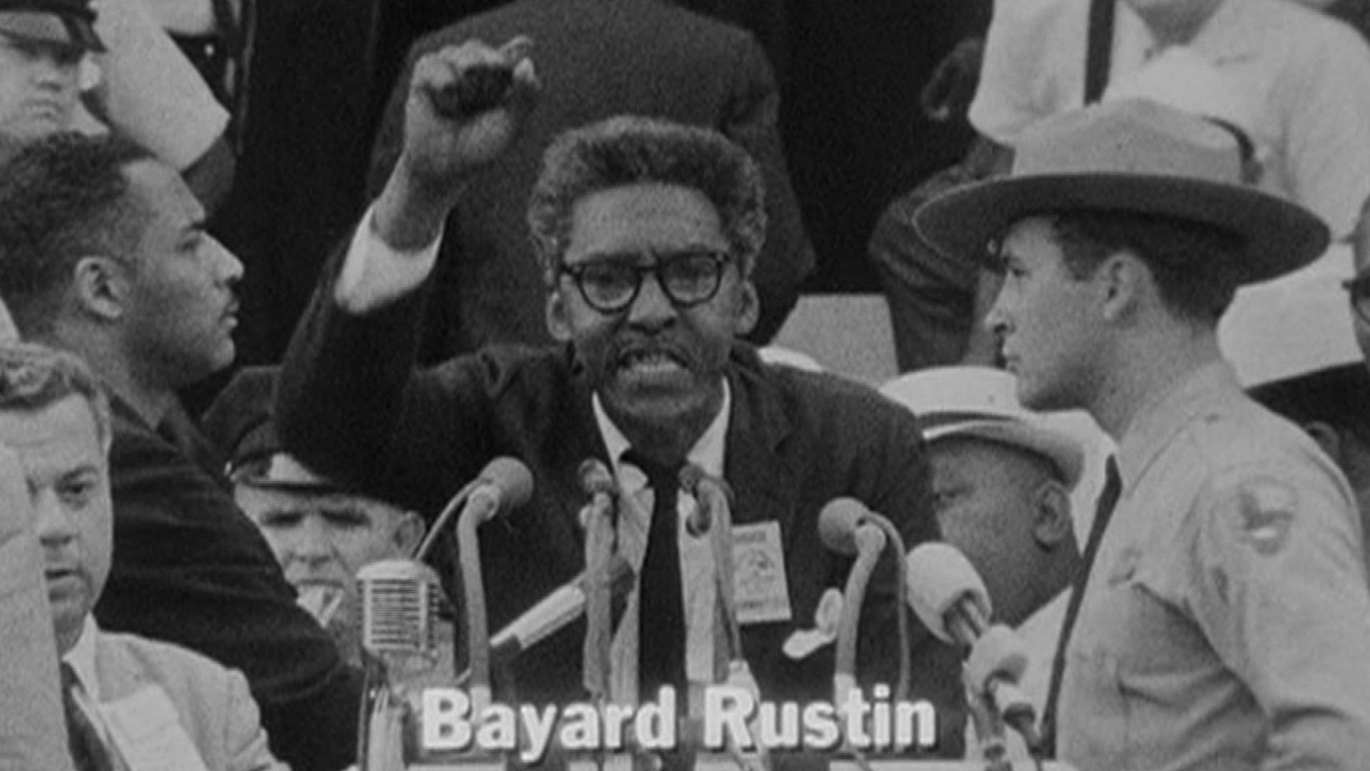 Bayard Rustin speaks at the famous 1963 March on Washington.