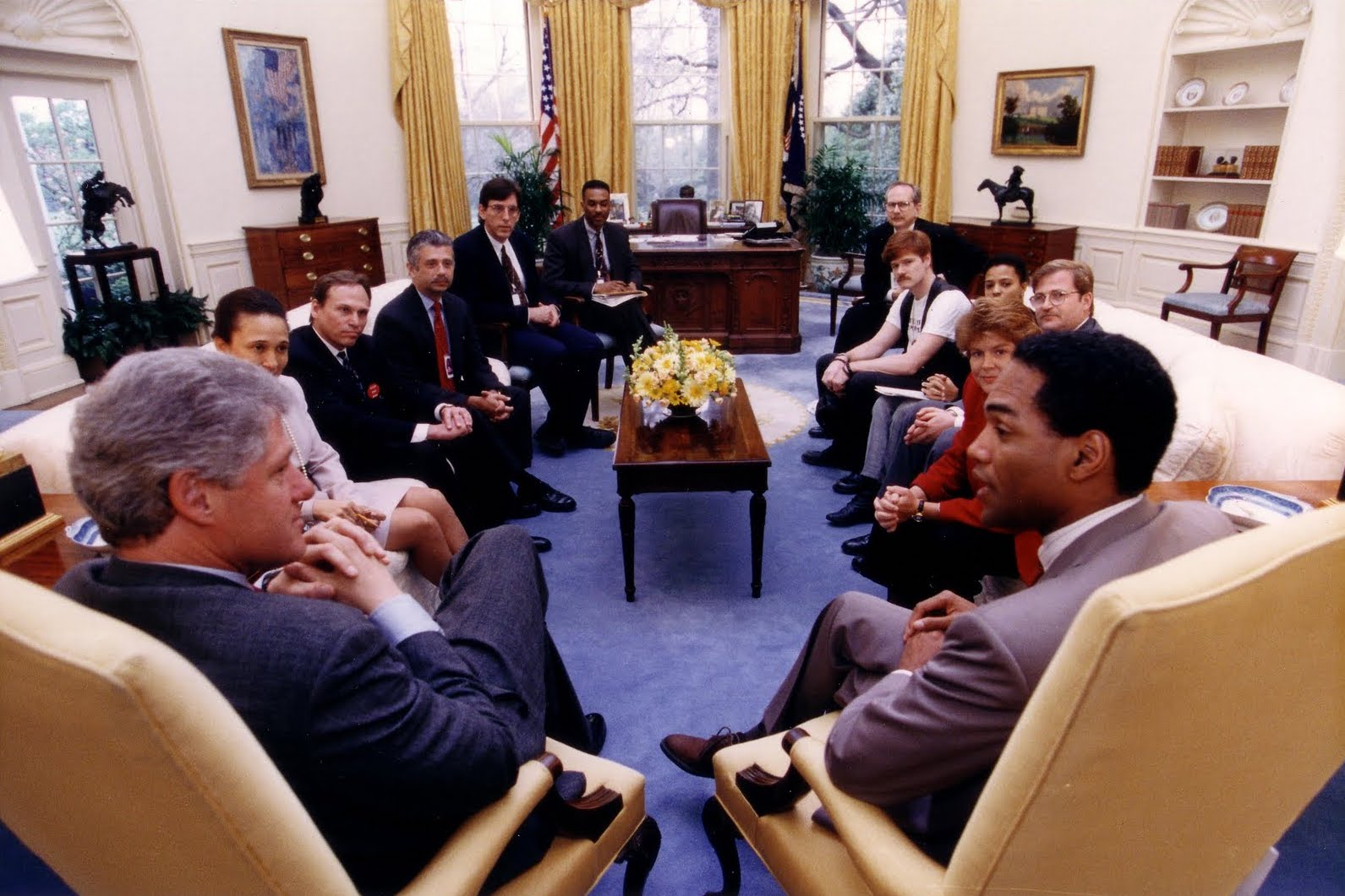 President Bill Clinton holds an historic, first-ever meeting with leaders of the LGBTQ community.
