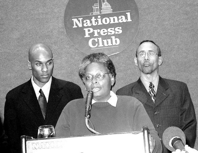 Mandy Carter speaks at the announcement of the formation of the National Black Justice Coalition.