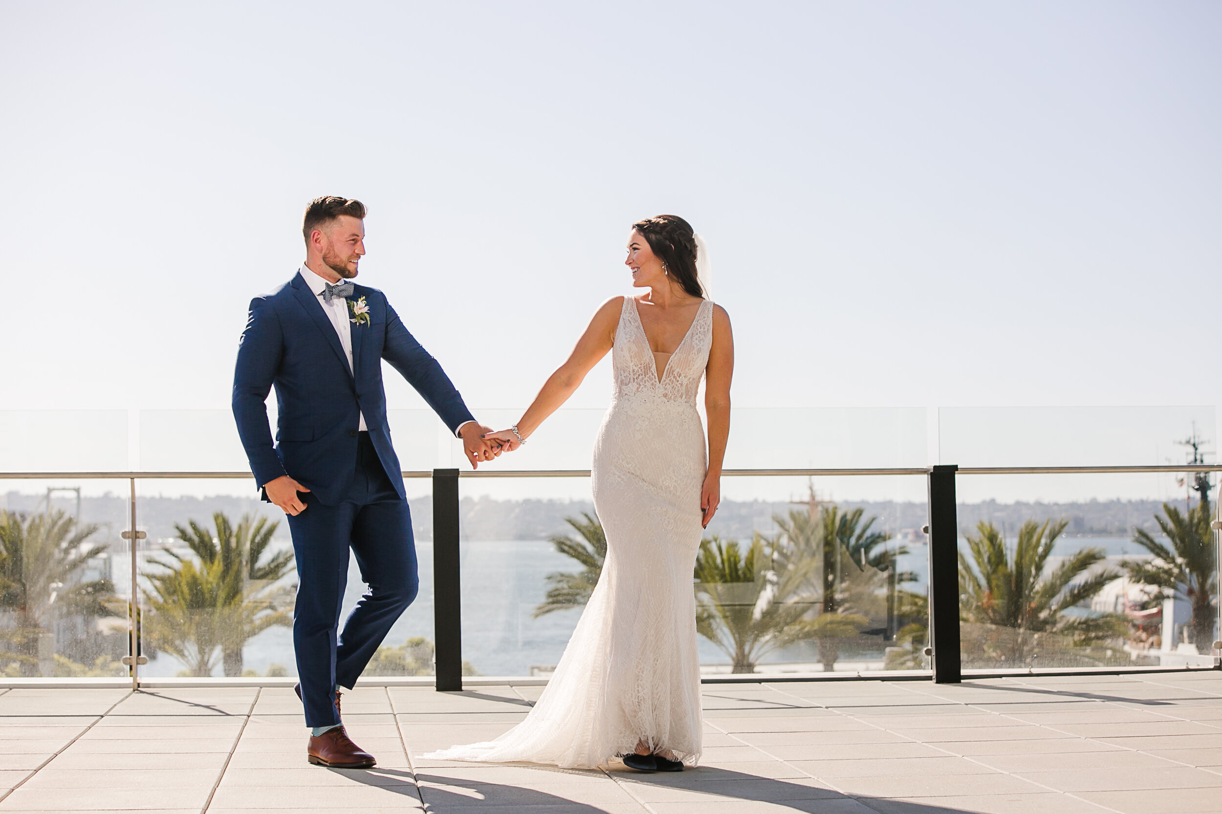 The Skyline meets the Sea at this rooftop modern wedding in San Diego, Ca
