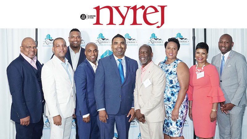 Shown (from left) are elected and real estate industry honorees:  Kenneth Morrison of Lemor Development, Keith Gordon of NCV Capital Partners, actor Sean Ringgold–who emceed, Christopher Bramwell of CB Emmanuel, Osei Rubie of National Standard Abstract, NYC council member Daneek Miller, NYS assemblymember Alicia Hyndman, Ericka Keller of Brisa Builders, and NYC council member Donovan Richards.