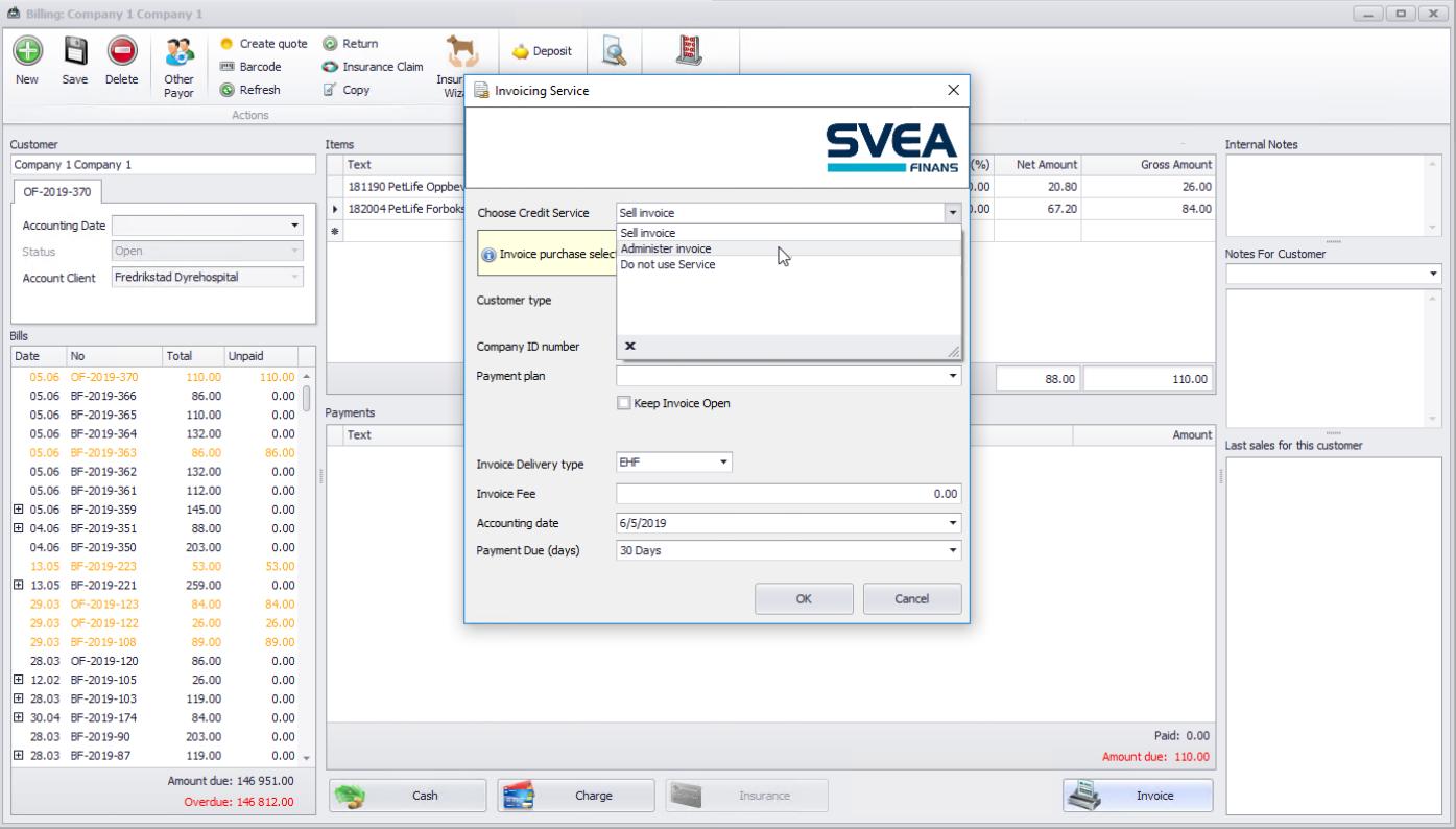 Svea-integreringen tillater valget mellom å la Svea bare administrere fakturaen, eller om den skal selges til Svea.
