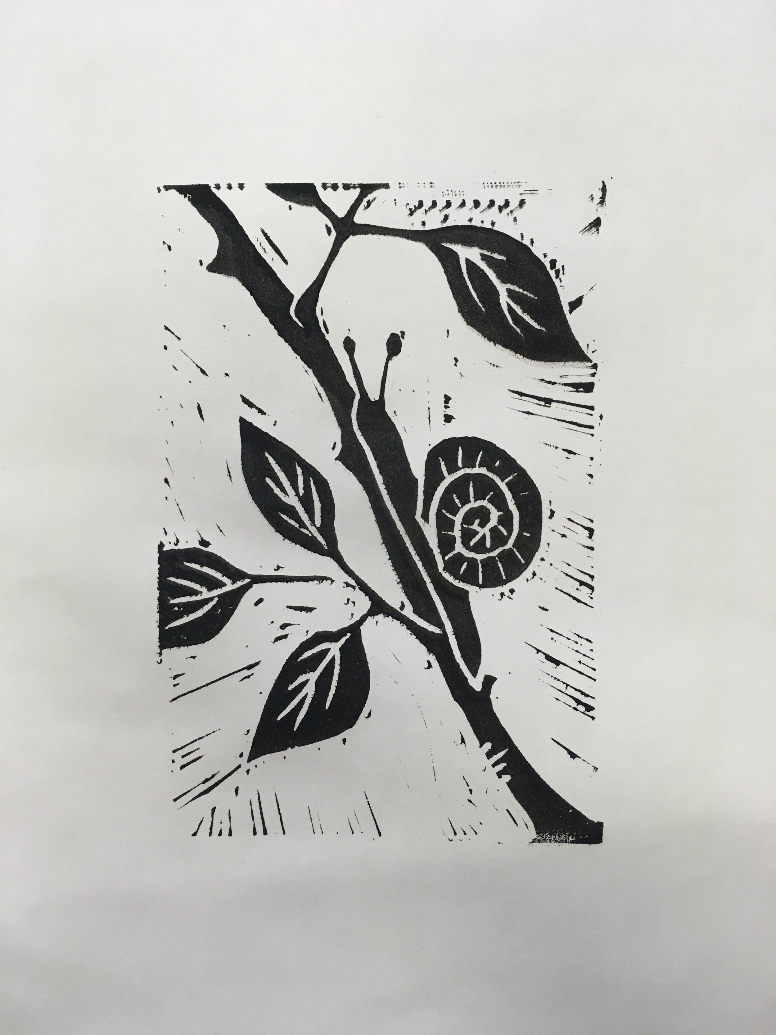 En snegl på vej. Prøvetryk af linoleumssnit. Gertrude Kiel. Juni 2019