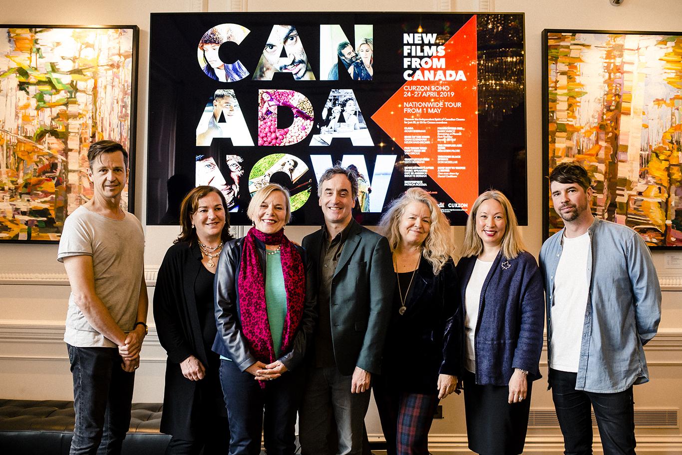 From L-R: Keith Behrman, GIANT LITTLE ONES; Brigitte Hubmann, Head of Canada Now, Telefilm Canada; Brigitte Berman, HUGH HEFNER'S AFTER DARK: SPEAKING OUT IN AMERICA; Don McKellar, THROUGH BLACK SPRUCE; Patricia Rozema, MOUTHPIECE; Sonya Thissen, Minister-Counsellor (Political and Public Affairs), High Commission of Canada; Yan Giroux, FOR THOSE WHO DON'T READ ME/À TOUS CEUX QUI NE ME LISENT PAS