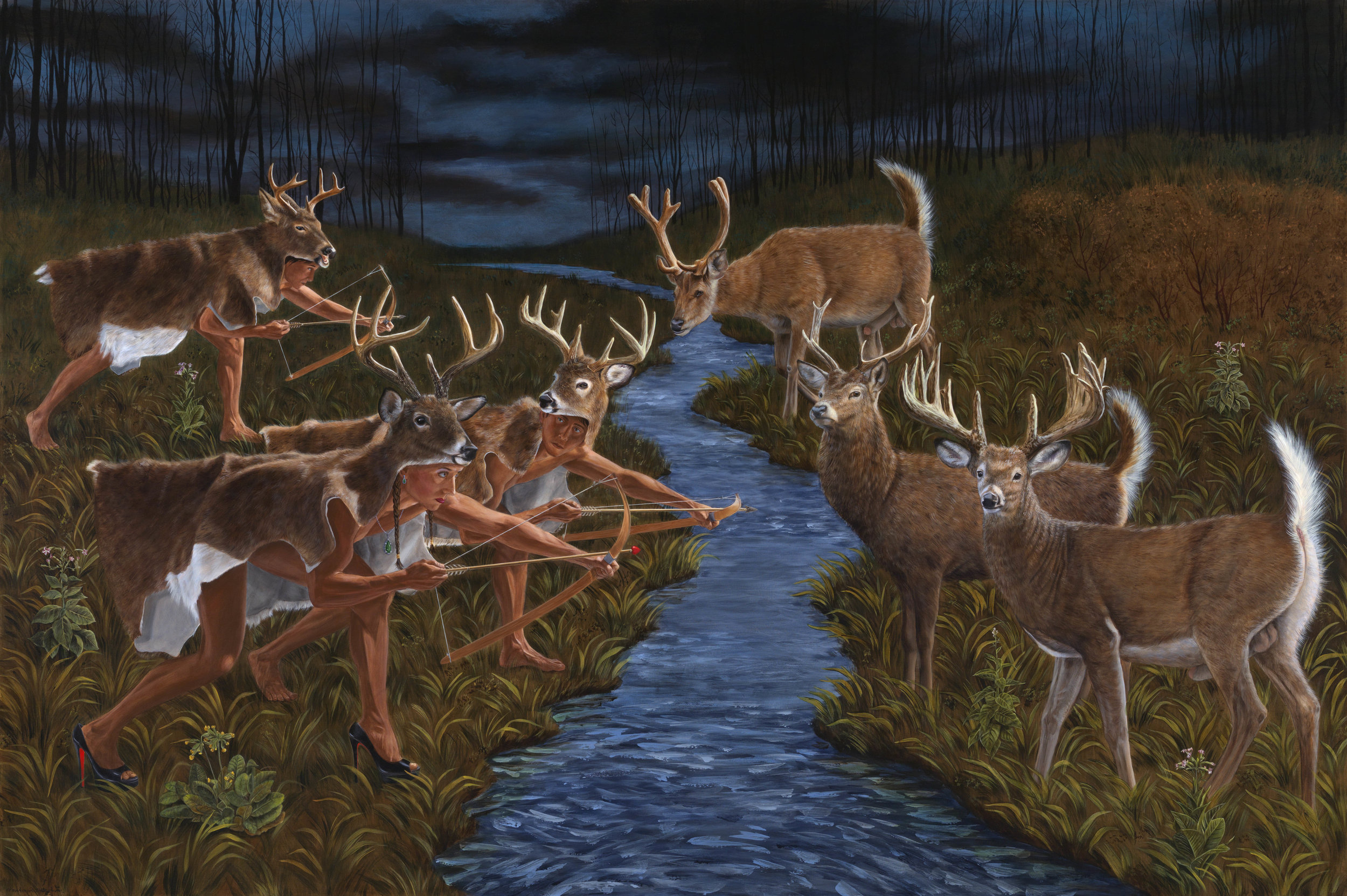 Kent Monkman,  Stag Hunting (After Theodor de Bry) ,   2018