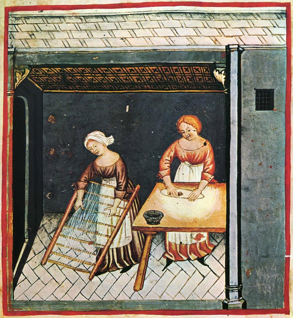 Medieval pasta making.