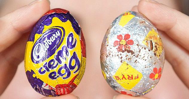 A Cadbury Creme Egg today vs. the original Fry's Creme Egg.