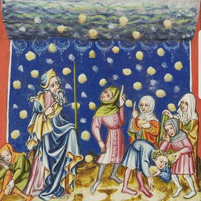 Unknown artist, 'The Israelites Collecting Manna from Heaven' from World Chronicle, c.1400-10