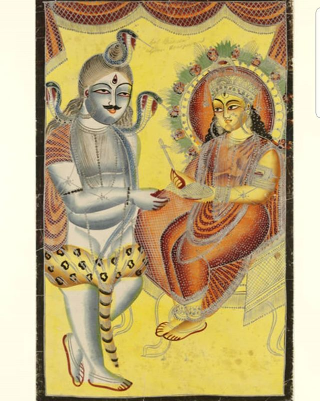 Annapurna, 'giver of food and plenty' bestowing rice upon Shiva.  Unknown artist, 'Annapurna and Shiva', c.1860