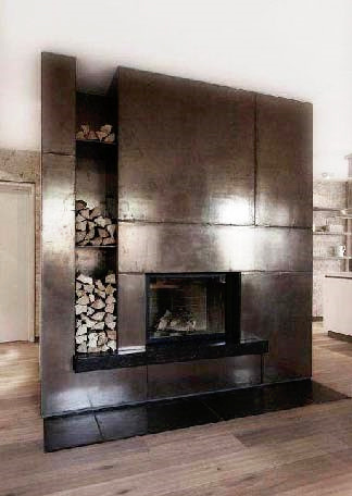 fireplace coated in antique bronze spray