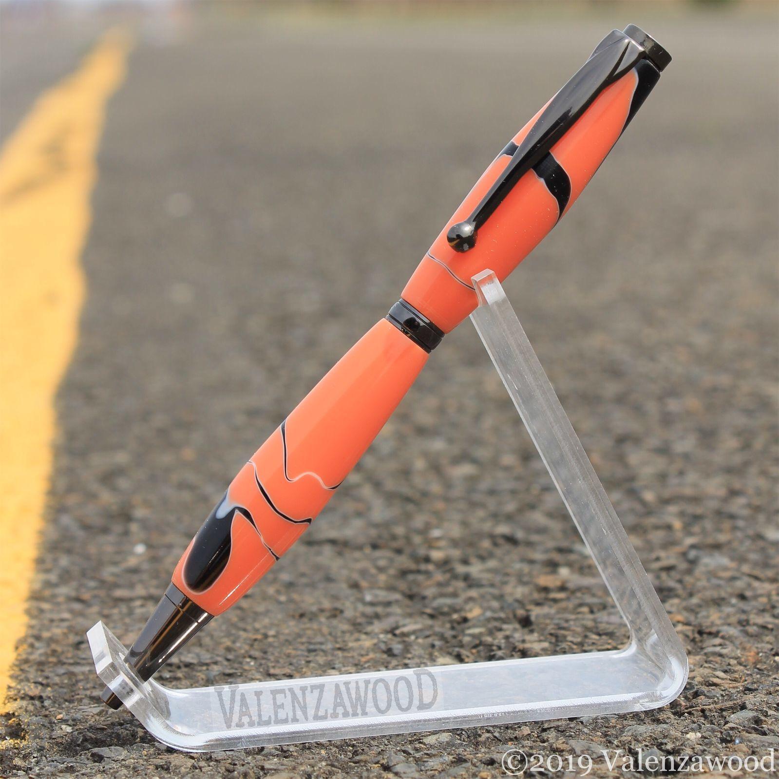 Orange/Black - Orange and Black | Slimline Style | Twist Action | Gun Metal Trim | Ballpoint Pen