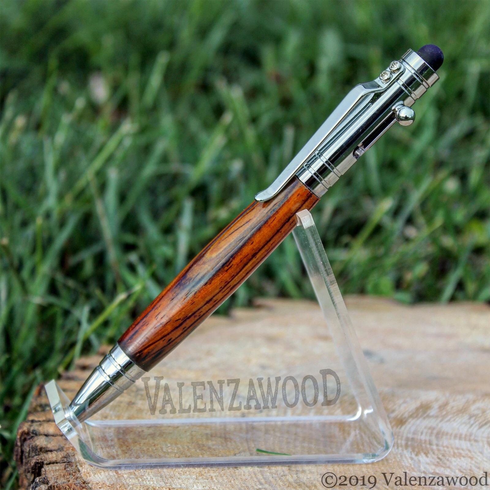 Cocobolo - Cocobolo Wood | Tec Style | Bolt Action | Chrome Trim | Ballpoint Pen | Stylus optional